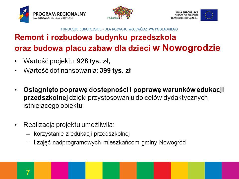 7 Remont i rozbudowa budynku przedszkola oraz budowa placu zabaw dla dzieci w Nowogrodzie Wartość projektu: 928 tys. zł, Wartość dofinansowania: 399 t