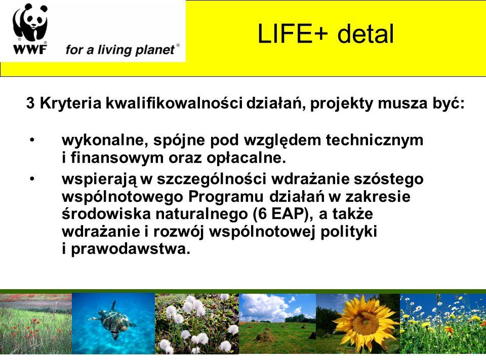 LIFE+ detal wykonalne, spójne pod względem technicznym i finansowym oraz opłacalne. wspierają w szczególności wdrażanie szóstego wspólnotowego Program