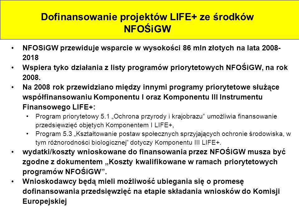 NFOSiGW przewiduje wsparcie w wysokości 86 mln złotych na lata 2008- 2018 Wspiera tyko działania z listy programów priorytetowych NFOŚiGW, na rok 2008