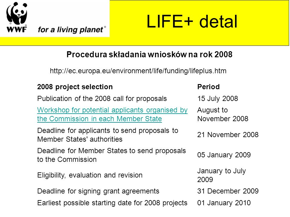 http://ec.europa.eu/environment/life/funding/lifeplus.htm Procedura składania wniosków na rok 2008 2008 project selectionPeriod Publication of the 2008 call for proposals15 July 2008 Workshop for potential applicants organised by the Commission in each Member State August to November 2008 Deadline for applicants to send proposals to Member States authorities 21 November 2008 Deadline for Member States to send proposals to the Commission 05 January 2009 Eligibility, evaluation and revision January to July 2009 Deadline for signing grant agreements31 December 2009 Earliest possible starting date for 2008 projects01 January 2010 LIFE+ detal