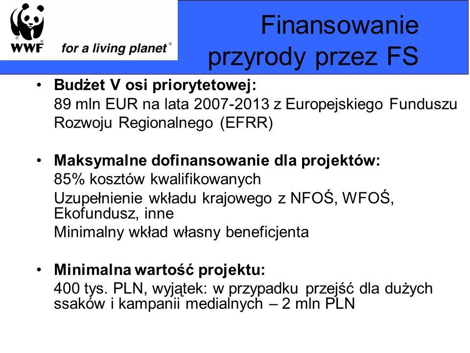 Finansowanie przyrody przez FS Budżet V osi priorytetowej: 89 mln EUR na lata 2007-2013 z Europejskiego Funduszu Rozwoju Regionalnego (EFRR) Maksymaln