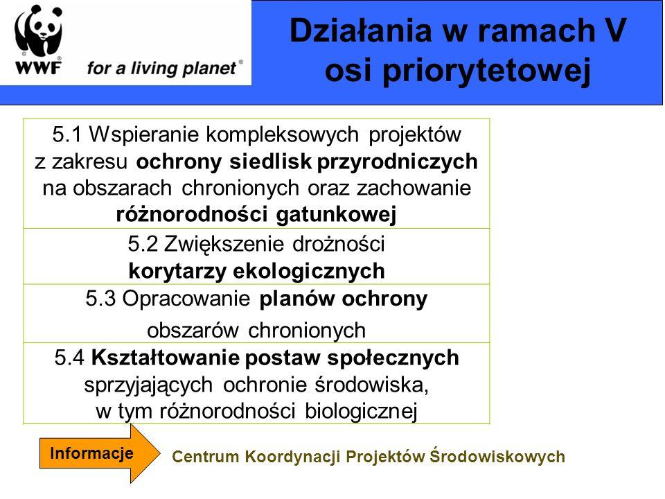 Działania w ramach V osi priorytetowej 5.1 Wspieranie kompleksowych projektów z zakresu ochrony siedlisk przyrodniczych na obszarach chronionych oraz