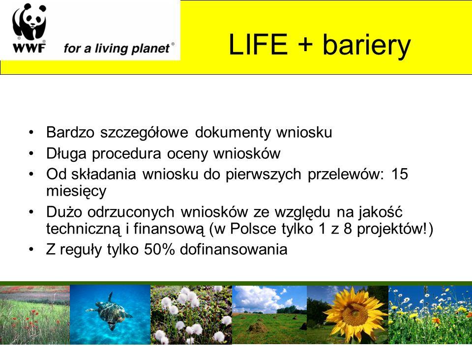 LIFE + bariery Bardzo szczegółowe dokumenty wniosku Długa procedura oceny wniosków Od składania wniosku do pierwszych przelewów: 15 miesięcy Dużo odrz