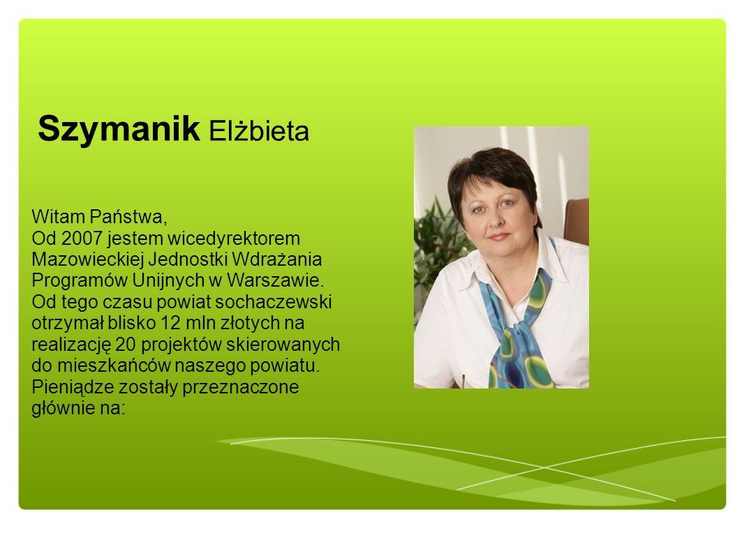 Szymanik Elżbieta Witam Państwa, Od 2007 jestem wicedyrektorem Mazowieckiej Jednostki Wdrażania Programów Unijnych w Warszawie. Od tego czasu powiat s