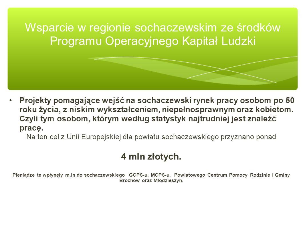 Projekty pomagające wejść na sochaczewski rynek pracy osobom po 50 roku życia, z niskim wykształceniem, niepełnosprawnym oraz kobietom. Czyli tym osob