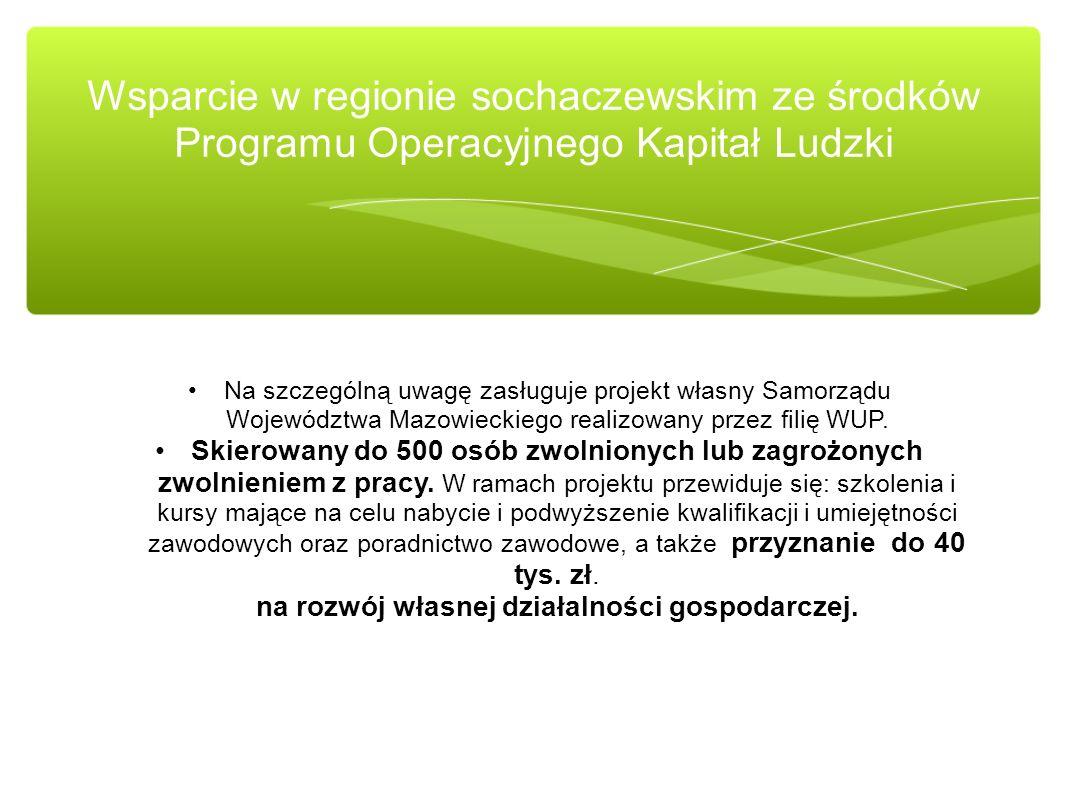 Na szczególną uwagę zasługuje projekt własny Samorządu Województwa Mazowieckiego realizowany przez filię WUP. Skierowany do 500 osób zwolnionych lub z