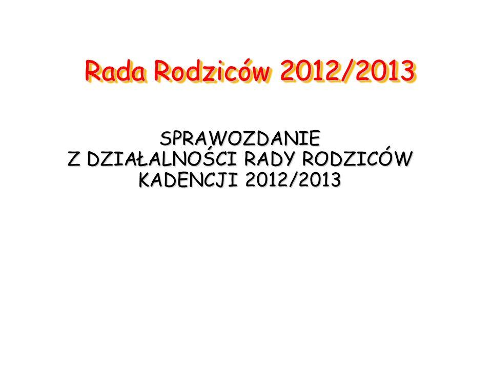 Rada Rodziców 2012/2013 SPRAWOZDANIE Z DZIAŁALNOŚCI RADY RODZICÓW KADENCJI 2012/2013