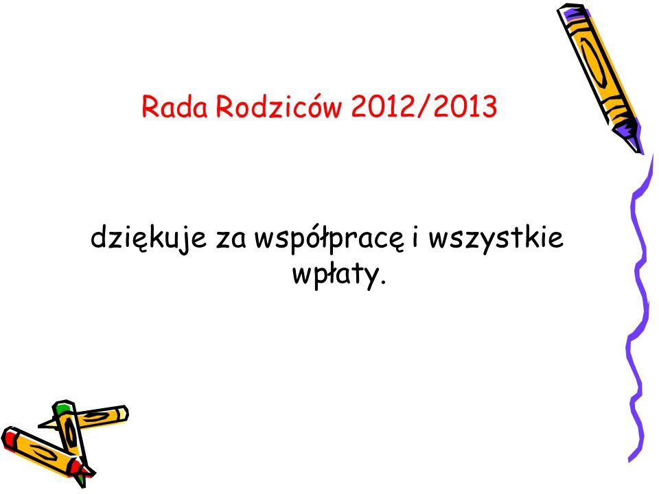 Rada Rodziców 2012/2013 dziękuje za współpracę i wszystkie wpłaty.