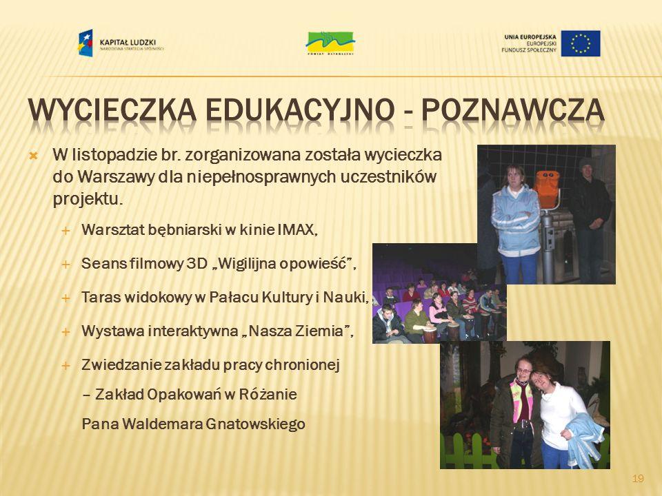 W listopadzie br. zorganizowana została wycieczka do Warszawy dla niepełnosprawnych uczestników projektu. Warsztat bębniarski w kinie IMAX, Seans film