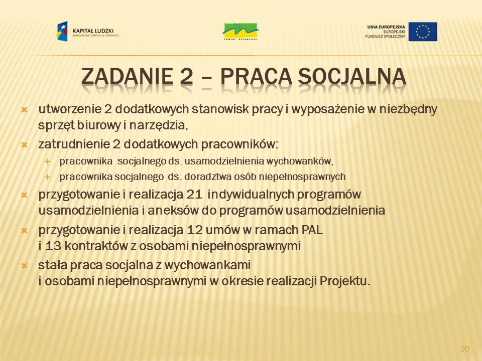 utworzenie 2 dodatkowych stanowisk pracy i wyposażenie w niezbędny sprzęt biurowy i narzędzia, zatrudnienie 2 dodatkowych pracowników: pracownika socjalnego ds.
