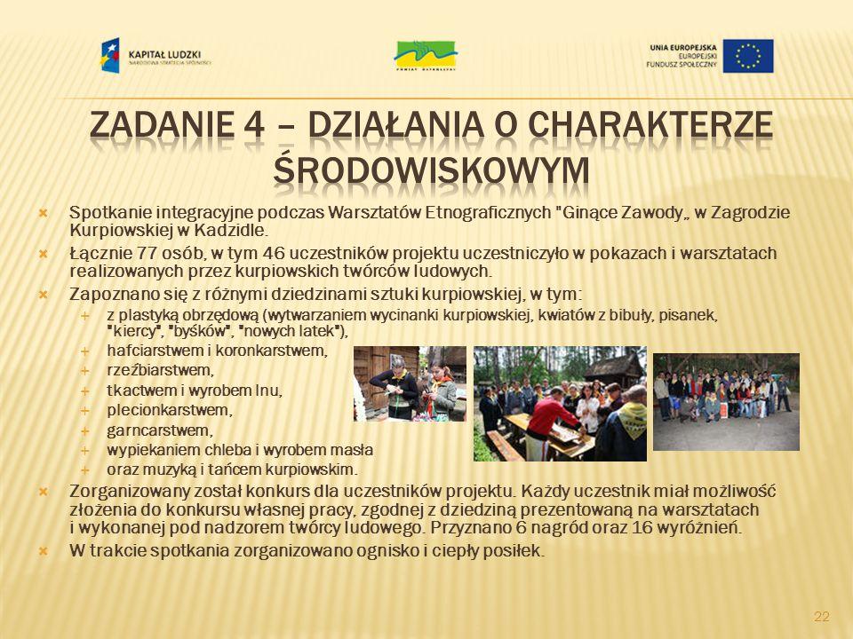 Spotkanie integracyjne podczas Warsztatów Etnograficznych Ginące Zawody w Zagrodzie Kurpiowskiej w Kadzidle.