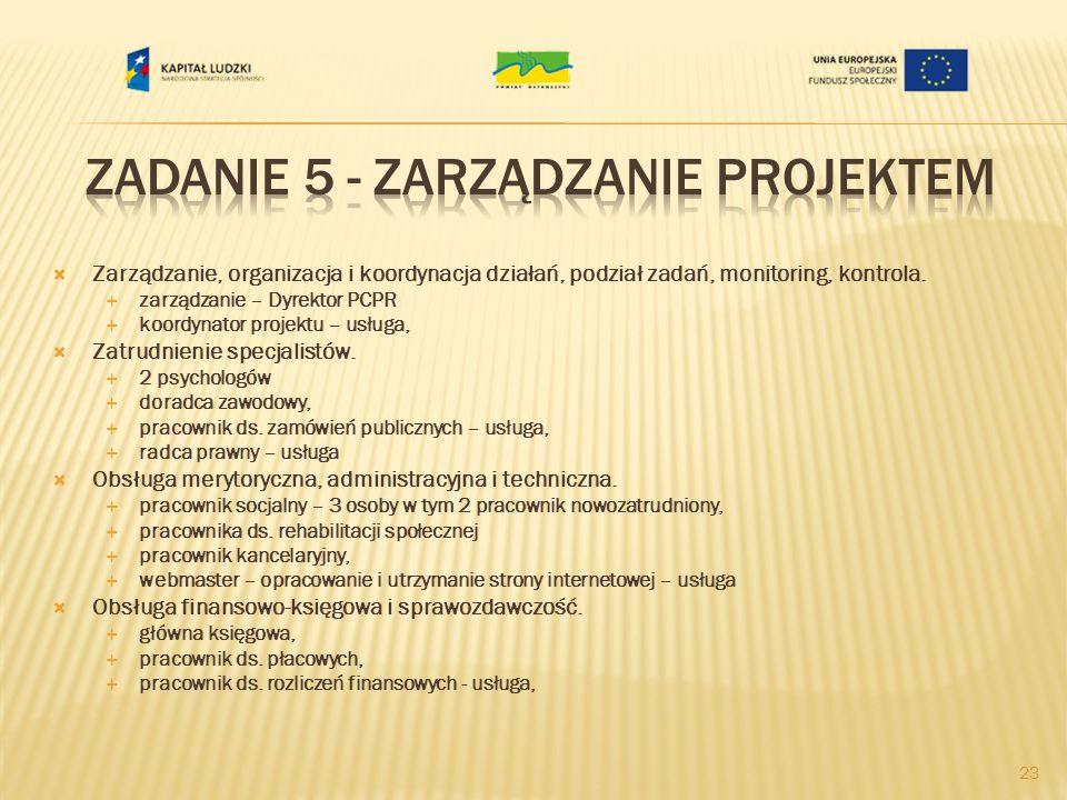 Zarządzanie, organizacja i koordynacja działań, podział zadań, monitoring, kontrola. zarządzanie – Dyrektor PCPR koordynator projektu – usługa, Zatrud
