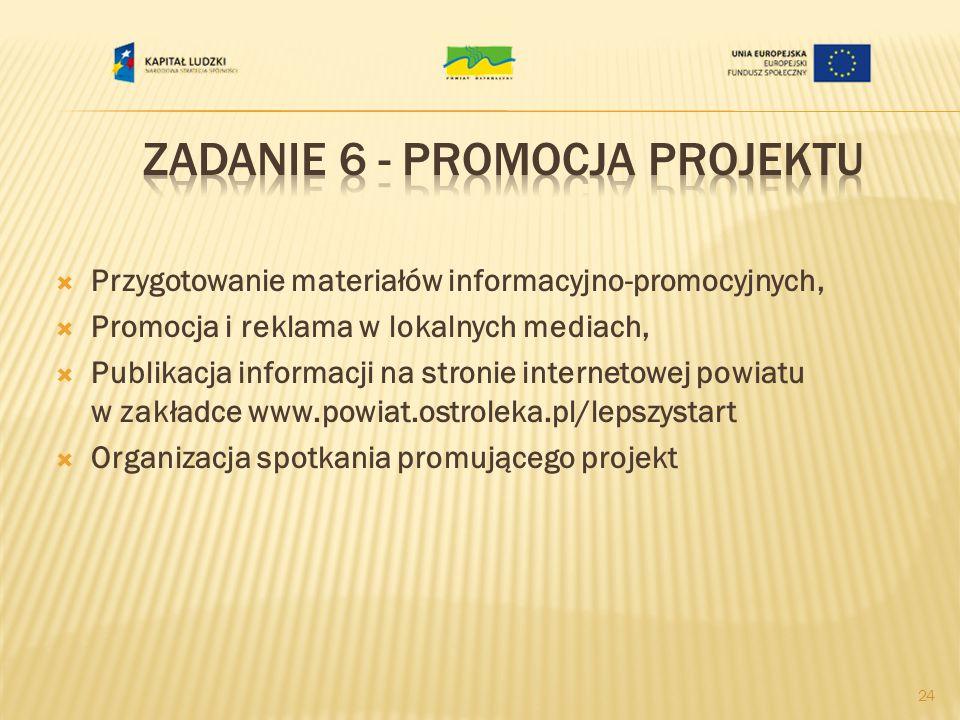 Przygotowanie materiałów informacyjno-promocyjnych, Promocja i reklama w lokalnych mediach, Publikacja informacji na stronie internetowej powiatu w zakładce www.powiat.ostroleka.pl/lepszystart Organizacja spotkania promującego projekt 24