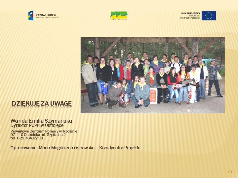 Wanda Emilia Szymańska Dyrektor PCPR w Ostrołęce Powiatowe Centrum Pomocy w Rodzinie 07-410 Ostrołęka, ul.