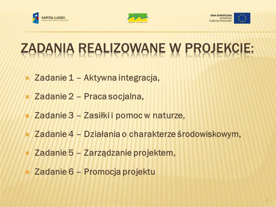 Zadanie 1 – Aktywna integracja, Zadanie 2 – Praca socjalna, Zadanie 3 – Zasiłki i pomoc w naturze, Zadanie 4 – Działania o charakterze środowiskowym,