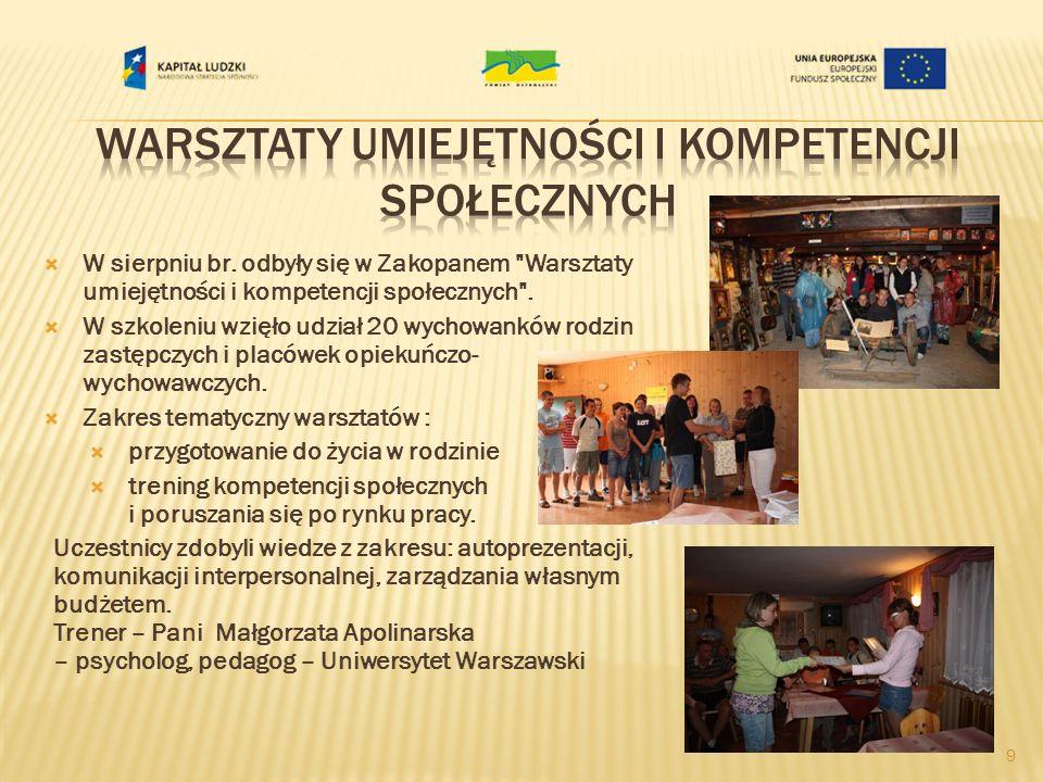 W sierpniu br.odbyły się w Zakopanem Warsztaty umiejętności i kompetencji społecznych .