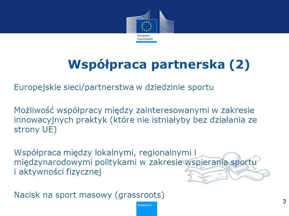 Erasmus+ Współpraca partnerska (2) Europejskie sieci/partnerstwa w dziedzinie sportu Możliwość współpracy między zainteresowanymi w zakresie innowacyjnych praktyk (które nie istniałyby bez działania ze strony UE) Współpraca między lokalnymi, regionalnymi i międzynarodowymi politykami w zakresie wspierania sportu i aktywności fizycznej Nacisk na sport masowy (grassroots) 3