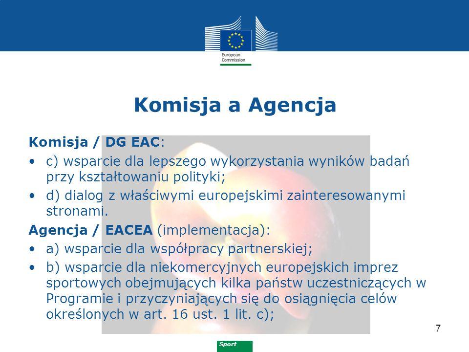 Sport Komisja a Agencja 7 Komisja / DG EAC: c) wsparcie dla lepszego wykorzystania wyników badań przy kształtowaniu polityki; d) dialog z właściwymi europejskimi zainteresowanymi stronami.
