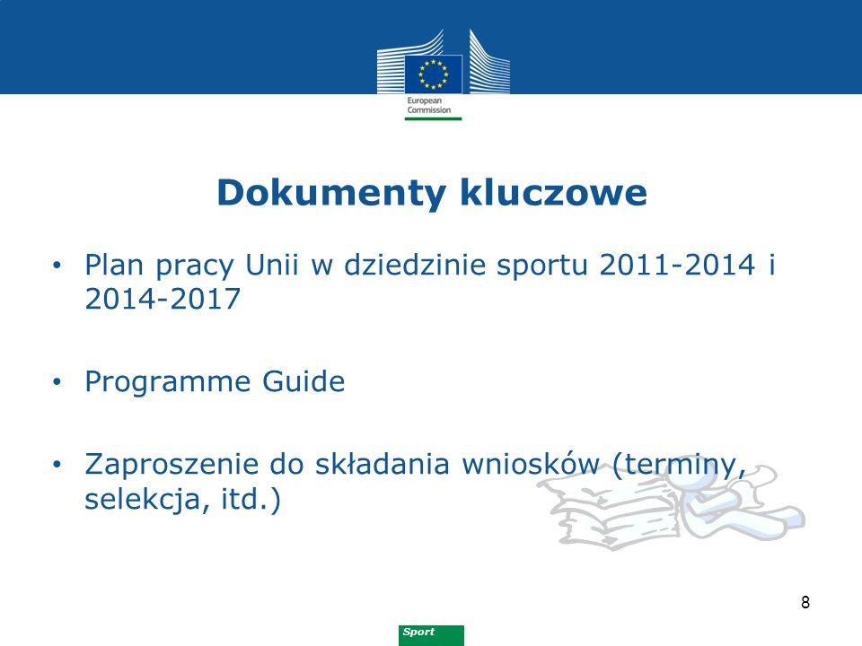 Sport Dokumenty kluczowe 8 Plan pracy Unii w dziedzinie sportu 2011-2014 i 2014-2017 Programme Guide Zaproszenie do składania wniosków (terminy, selek