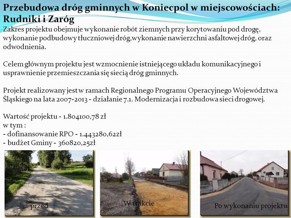 Przebudowa dróg gminnych w Koniecpol w miejscowościach: Rudniki i Zaróg Zakres projektu obejmuje wykonanie robót ziemnych przy korytowaniu pod drogę, wykonanie podbudowy tłuczniowej dróg,wykonanie nawierzchni asfaltowej dróg, oraz odwodnienia.