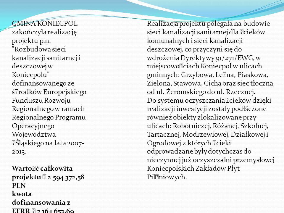 GMINA KONIECPOL zakończyła realizację projektu p.n.