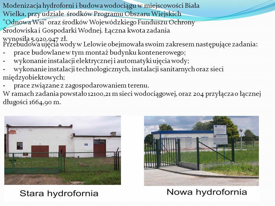 Modenizacja hydroforni i budowa wodociągu w miejscowości Biała Wielka, przy udziale środków Programu Obszaru Wiejskich Odnowa Wsi oraz środków Wojewódzkiego Funduszu Ochrony Środowiska i Gospodarki Wodnej.
