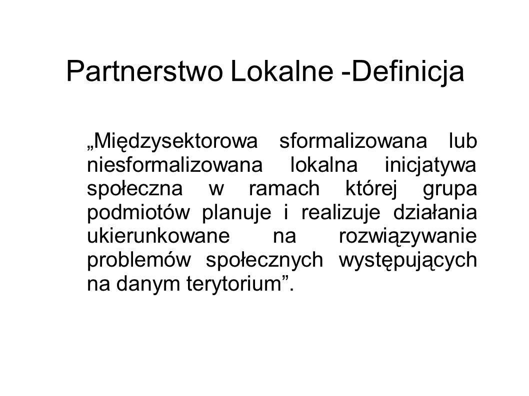 Partnerstwo Lokalne -Definicja Międzysektorowa sformalizowana lub niesformalizowana lokalna inicjatywa społeczna w ramach której grupa podmiotów planu