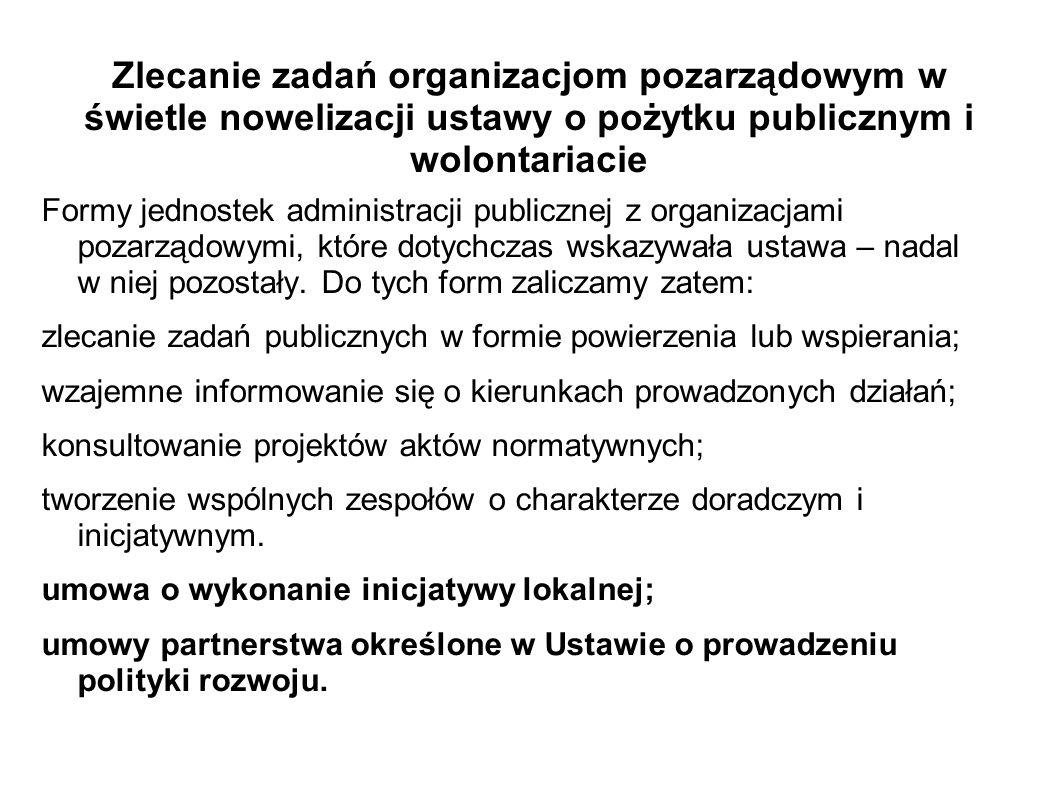 Zlecanie zadań organizacjom pozarządowym w świetle nowelizacji ustawy o pożytku publicznym i wolontariacie Formy jednostek administracji publicznej z