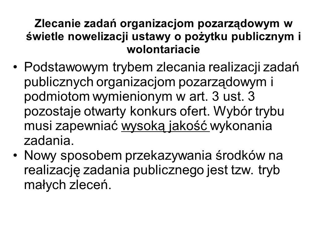 Zlecanie zadań organizacjom pozarządowym w świetle nowelizacji ustawy o pożytku publicznym i wolontariacie Podstawowym trybem zlecania realizacji zada