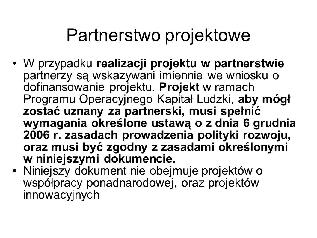 Partnerstwo projektowe W przypadku realizacji projektu w partnerstwie partnerzy są wskazywani imiennie we wniosku o dofinansowanie projektu. Projekt w