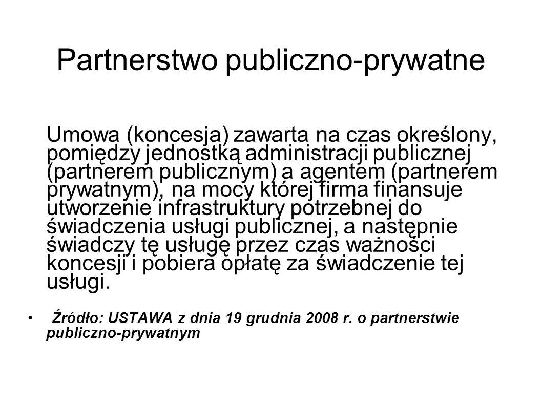Partnerstwo publiczno-prywatne Umowa (koncesja) zawarta na czas określony, pomiędzy jednostką administracji publicznej (partnerem publicznym) a agente