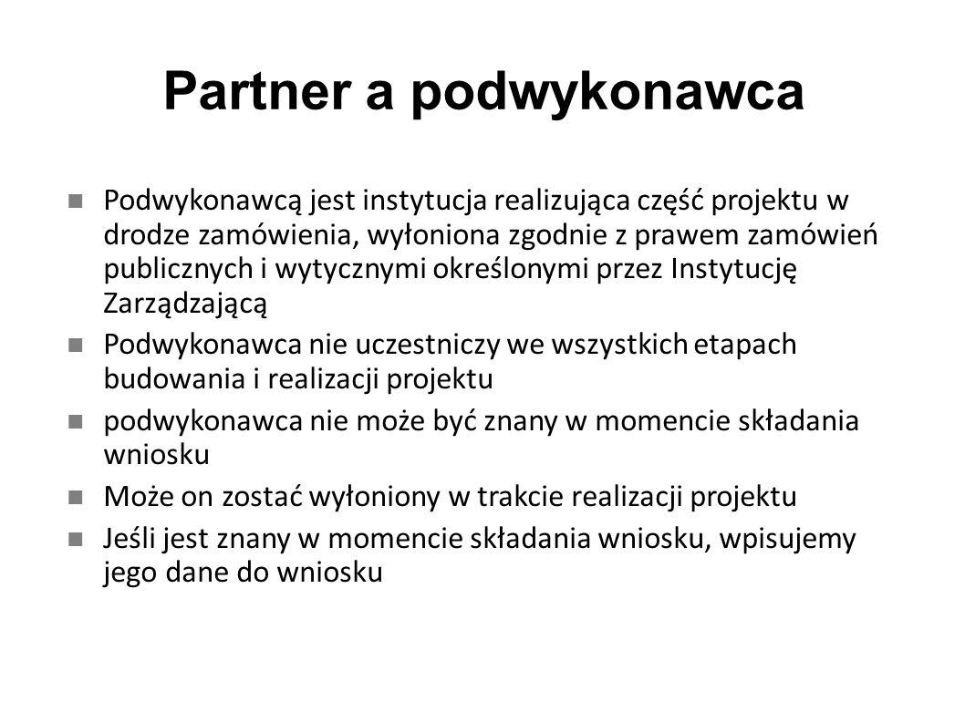 Partner a podwykonawca Podwykonawcą jest instytucja realizująca część projektu w drodze zamówienia, wyłoniona zgodnie z prawem zamówień publicznych i