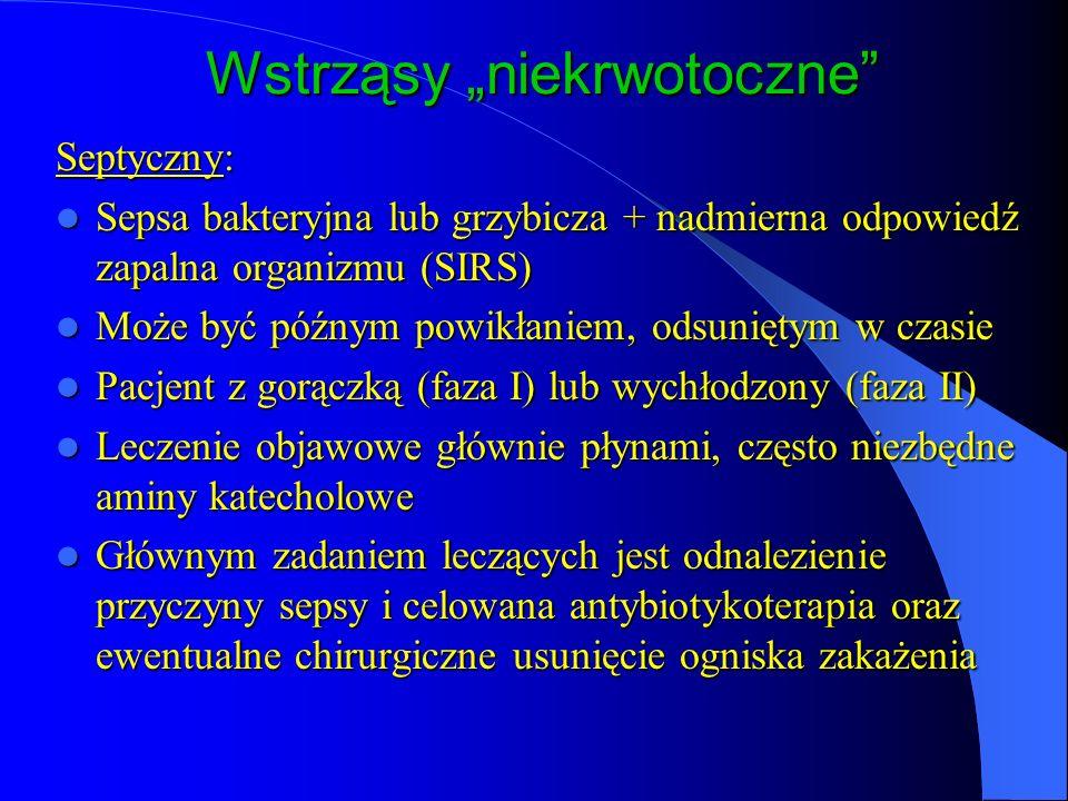 Wstrząsy niekrwotoczne Septyczny: Sepsa bakteryjna lub grzybicza + nadmierna odpowiedź zapalna organizmu (SIRS) Sepsa bakteryjna lub grzybicza + nadmierna odpowiedź zapalna organizmu (SIRS) Może być późnym powikłaniem, odsuniętym w czasie Może być późnym powikłaniem, odsuniętym w czasie Pacjent z gorączką (faza I) lub wychłodzony (faza II) Pacjent z gorączką (faza I) lub wychłodzony (faza II) Leczenie objawowe głównie płynami, często niezbędne aminy katecholowe Leczenie objawowe głównie płynami, często niezbędne aminy katecholowe Głównym zadaniem leczących jest odnalezienie przyczyny sepsy i celowana antybiotykoterapia oraz ewentualne chirurgiczne usunięcie ogniska zakażenia Głównym zadaniem leczących jest odnalezienie przyczyny sepsy i celowana antybiotykoterapia oraz ewentualne chirurgiczne usunięcie ogniska zakażenia