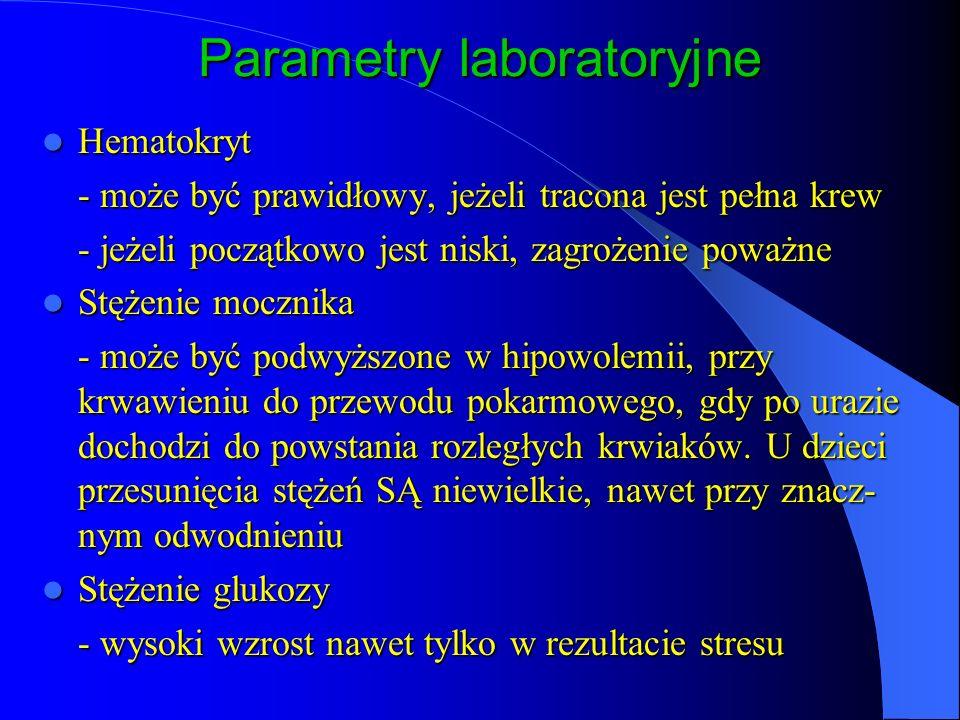 Parametry laboratoryjne Hematokryt Hematokryt - może być prawidłowy, jeżeli tracona jest pełna krew - jeżeli początkowo jest niski, zagrożenie poważne Stężenie mocznika Stężenie mocznika - może być podwyższone w hipowolemii, przy krwawieniu do przewodu pokarmowego, gdy po urazie dochodzi do powstania rozległych krwiaków.