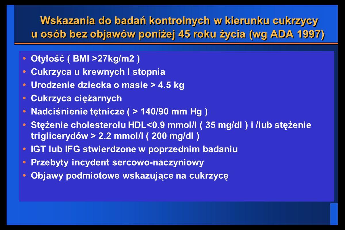 Wskazania do badań kontrolnych w kierunku cukrzycy u osób bez objawów poniżej 45 roku życia (wg ADA 1997) Otyłość ( BMI >27kg/m2 ) Cukrzyca u krewnych