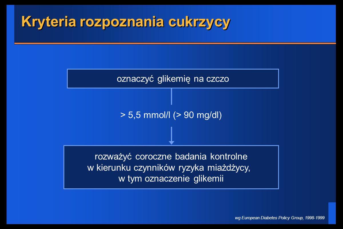 Kryteria rozpoznania cukrzycy oznaczyć glikemię na czczo rozważyć coroczne badania kontrolne w kierunku czynników ryzyka miażdżycy, w tym oznaczenie g