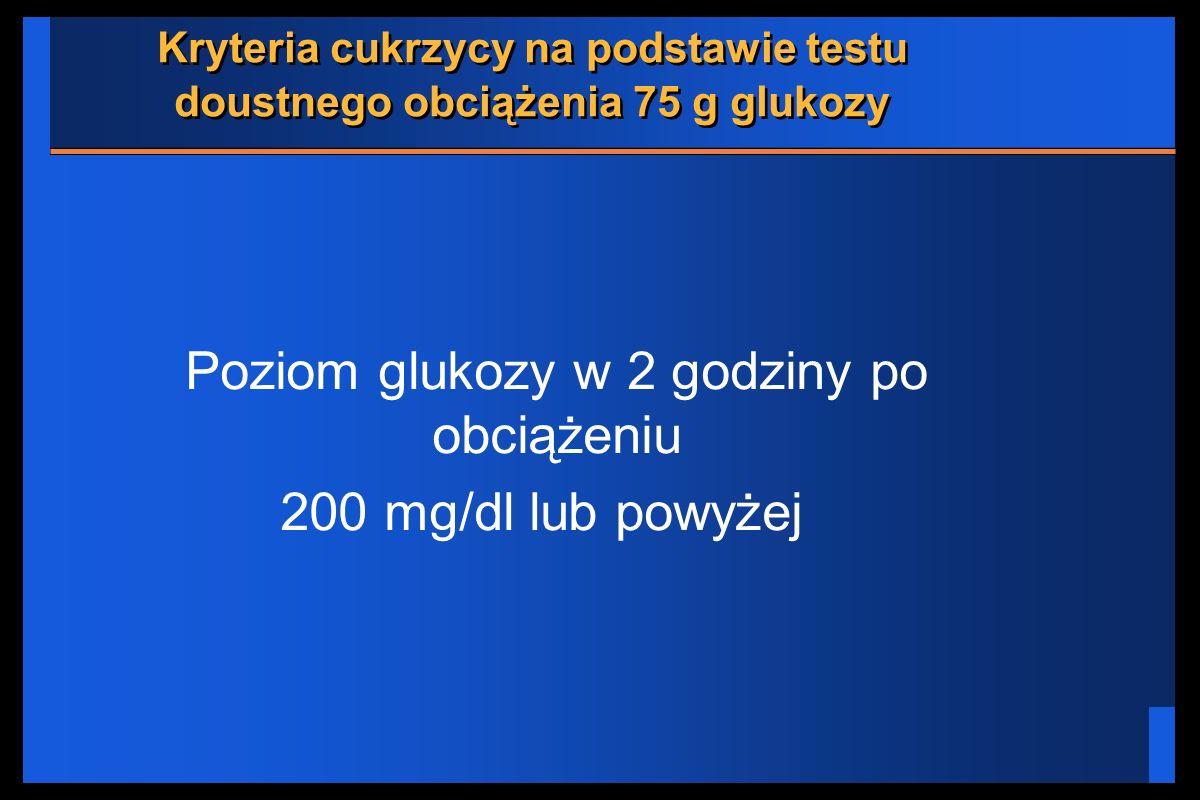 Kryteria cukrzycy na podstawie testu doustnego obciążenia 75 g glukozy Poziom glukozy w 2 godziny po obciążeniu 200 mg/dl lub powyżej