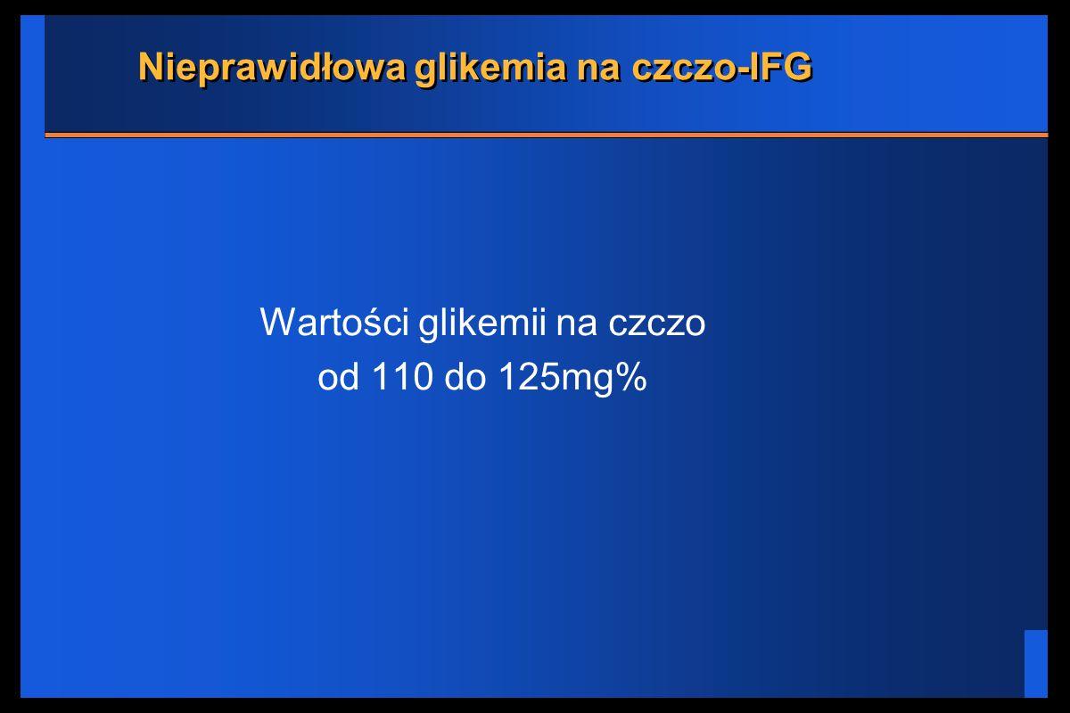 Nieprawidłowa glikemia na czczo-IFG Wartości glikemii na czczo od 110 do 125mg%