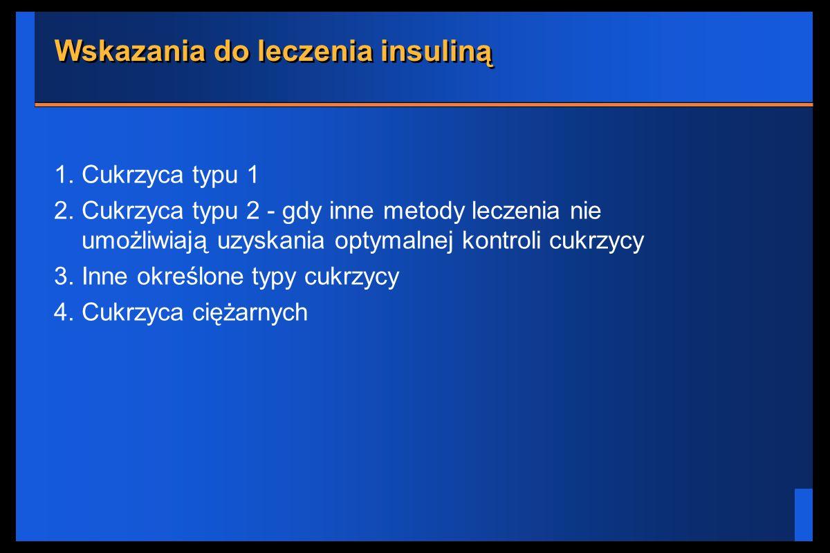 Wskazania do leczenia insuliną 1. Cukrzyca typu 1 2. Cukrzyca typu 2 - gdy inne metody leczenia nie umożliwiają uzyskania optymalnej kontroli cukrzycy