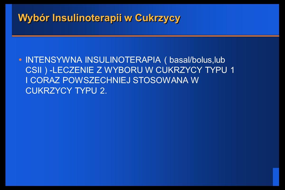 Wybór Insulinoterapii w Cukrzycy INTENSYWNA INSULINOTERAPIA ( basal/bolus,lub CSII ) -LECZENIE Z WYBORU W CUKRZYCY TYPU 1 I CORAZ POWSZECHNIEJ STOSOWA