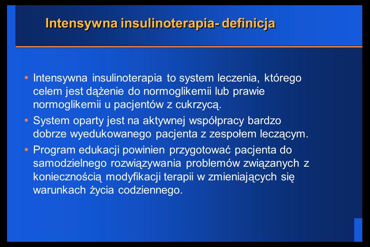Intensywna insulinoterapia- definicja Intensywna insulinoterapia to system leczenia, którego celem jest dążenie do normoglikemii lub prawie normoglike