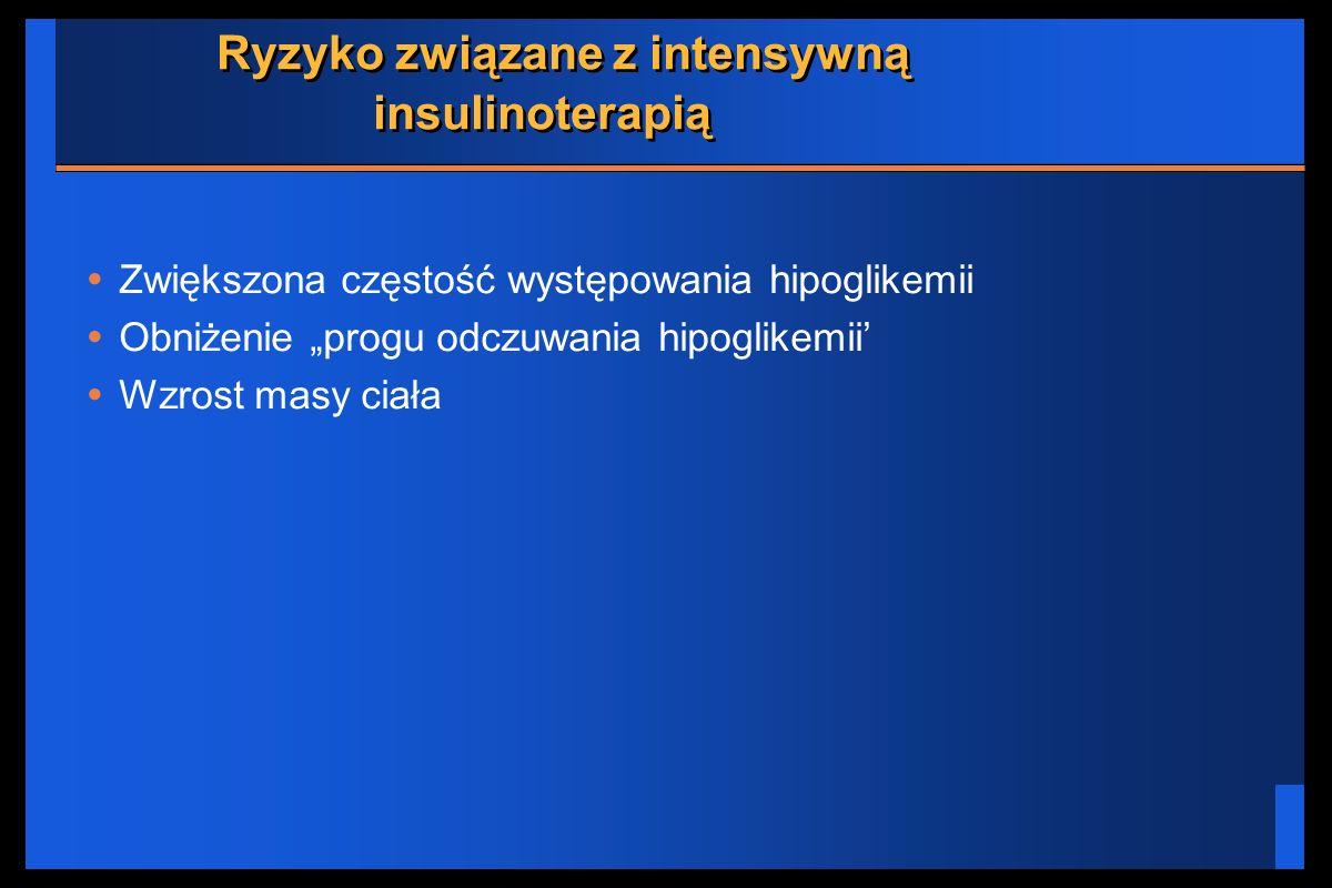Ryzyko związane z intensywną insulinoterapią Zwiększona częstość występowania hipoglikemii Obniżenie progu odczuwania hipoglikemii Wzrost masy ciała