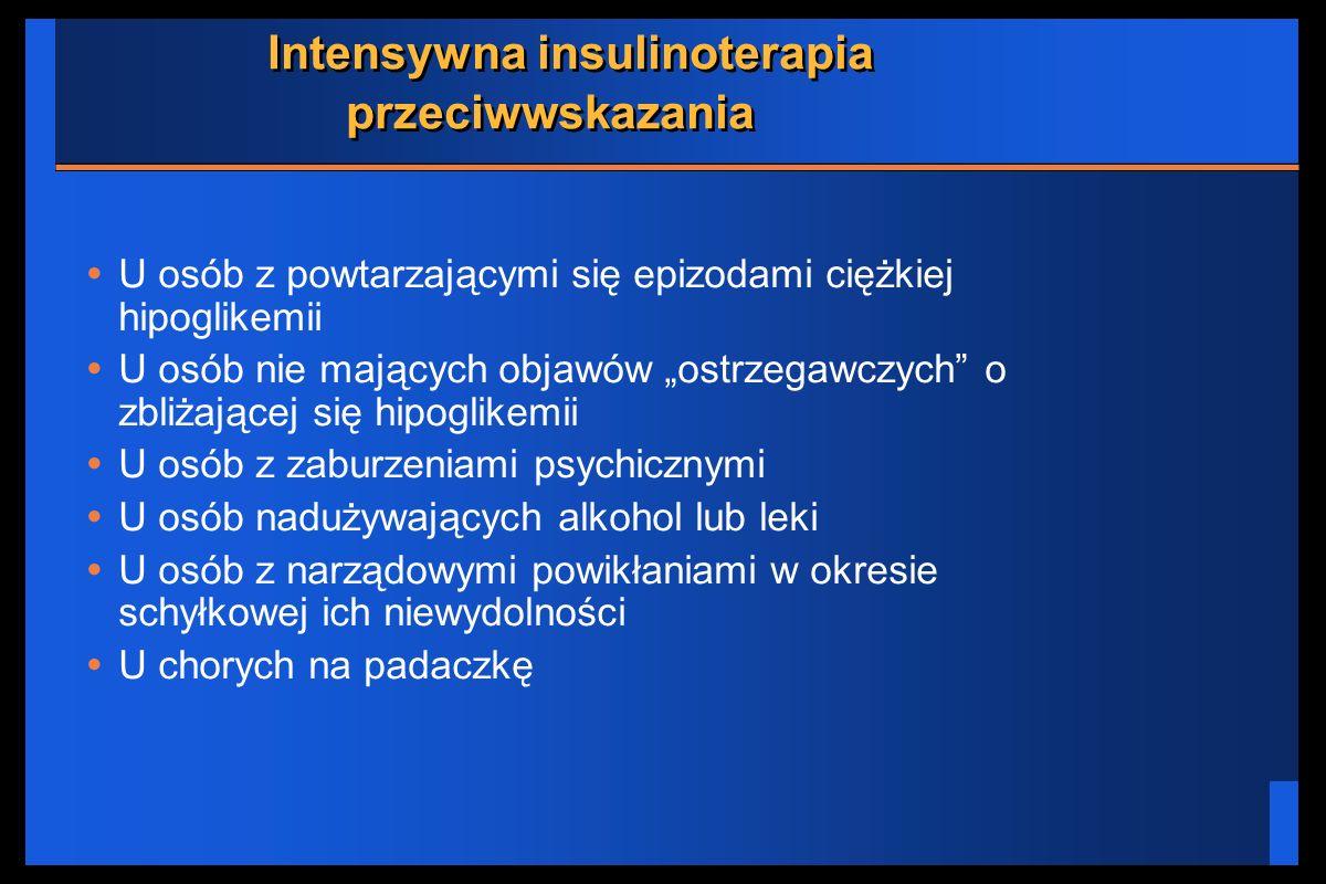 Intensywna insulinoterapia przeciwwskazania U osób z powtarzającymi się epizodami ciężkiej hipoglikemii U osób nie mających objawów ostrzegawczych o z