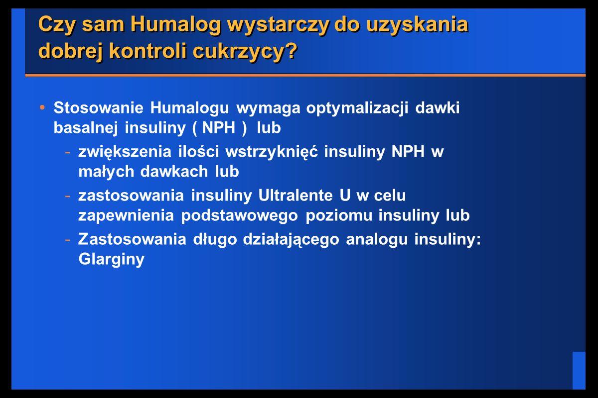 Czy sam Humalog wystarczy do uzyskania dobrej kontroli cukrzycy? Stosowanie Humalogu wymaga optymalizacji dawki basalnej insuliny ( NPH ) lub -zwiększ