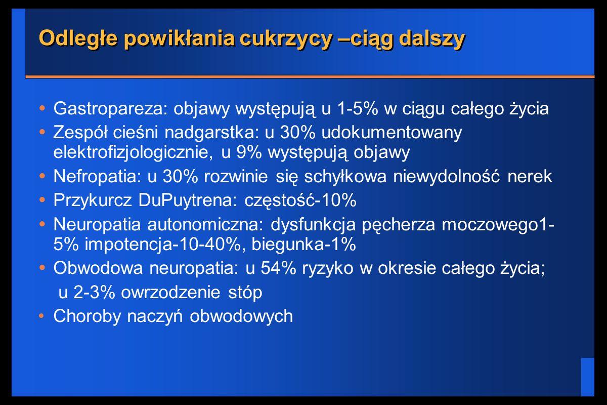 Odległe powikłania cukrzycy –ciąg dalszy Gastropareza: objawy występują u 1-5% w ciągu całego życia Zespół cieśni nadgarstka: u 30% udokumentowany ele