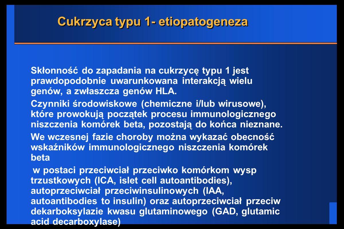 Cukrzyca typu 1- etiopatogeneza Skłonność do zapadania na cukrzycę typu 1 jest prawdopodobnie uwarunkowana interakcją wielu genów, a zwłaszcza genów H