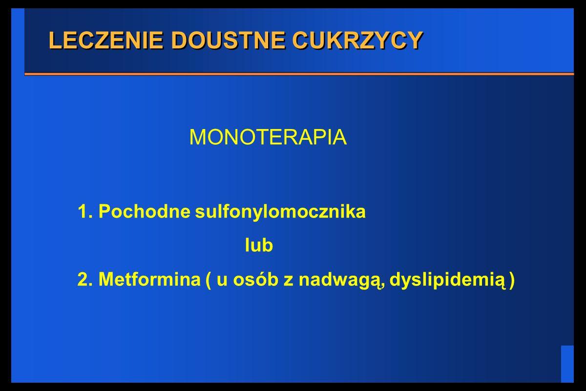 LECZENIE DOUSTNE CUKRZYCY MONOTERAPIA 1. Pochodne sulfonylomocznika lub 2. Metformina ( u osób z nadwagą, dyslipidemią )