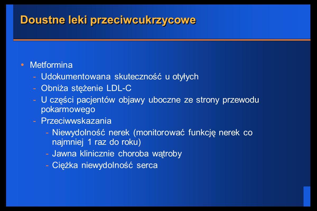 Doustne leki przeciwcukrzycowe Metformina -Udokumentowana skuteczność u otyłych -Obniża stężenie LDL-C -U części pacjentów objawy uboczne ze strony pr