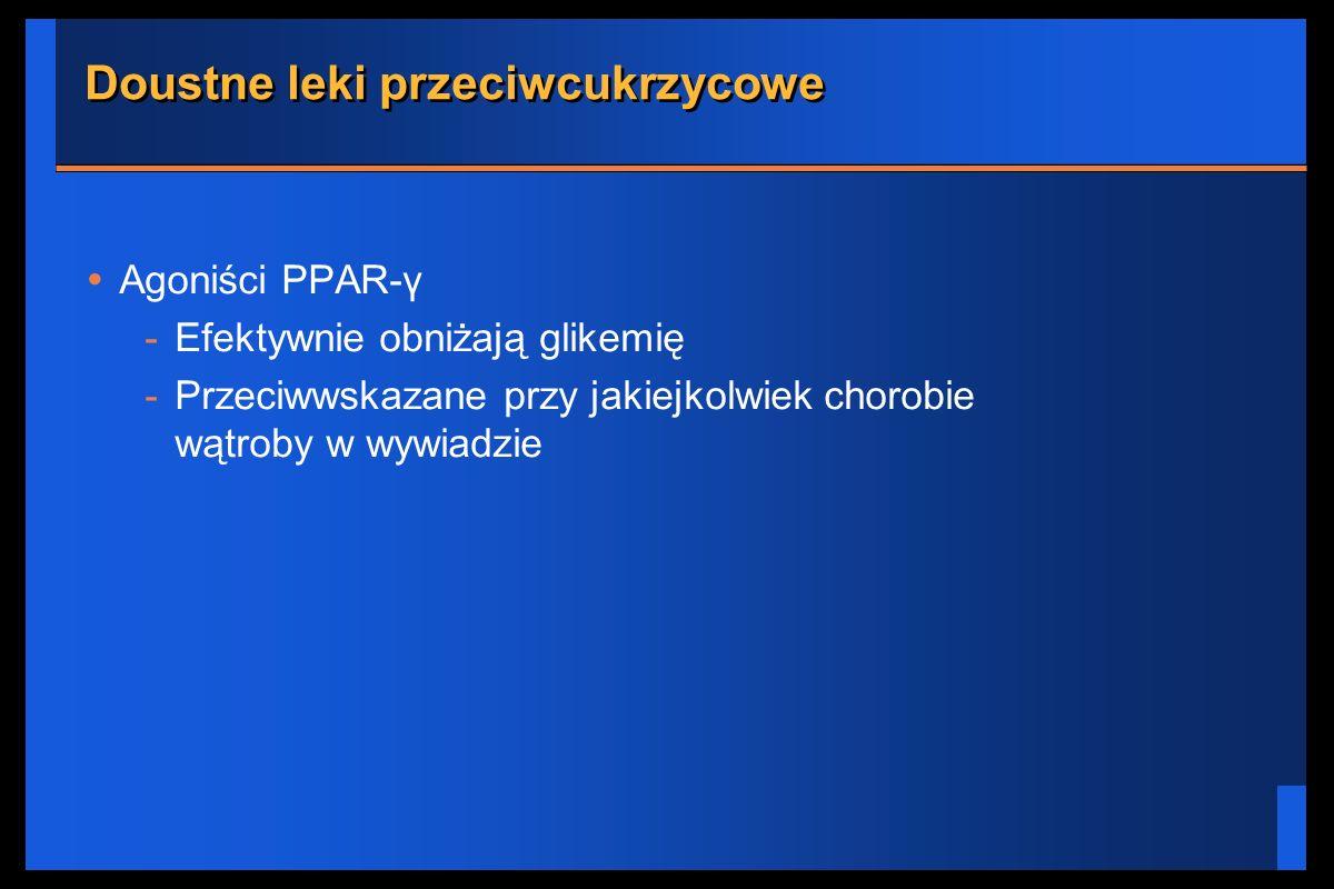 Doustne leki przeciwcukrzycowe Agoniści PPAR-γ -Efektywnie obniżają glikemię -Przeciwwskazane przy jakiejkolwiek chorobie wątroby w wywiadzie