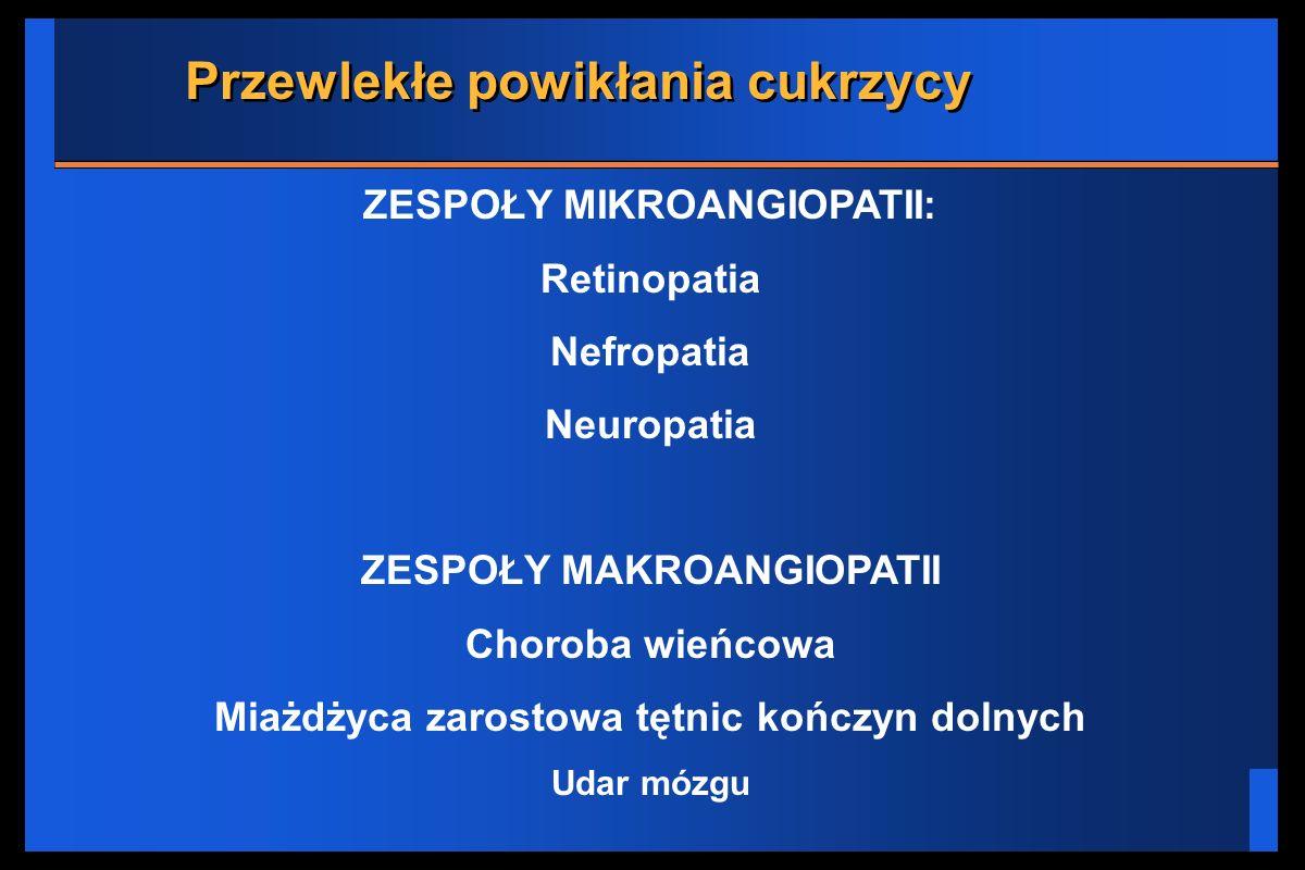 Przewlekłe powikłania cukrzycy ZESPOŁY MIKROANGIOPATII: Retinopatia Nefropatia Neuropatia ZESPOŁY MAKROANGIOPATII Choroba wieńcowa Miażdżyca zarostowa
